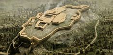 """Acropolis of Athens during the Mycenaean period 1500-1300 BCE. The Mycenaean palace wall also known as Pelasgiko (or Pelargiko) is currently visible near the Propylaea. The wall constituted the main means of defense until the end of the archaic period. The citadel had two entrances at the north and west. The west where today stands the Propylaea, had nine gates, the so called """"enneapylon"""" which as reported by Thucydides, existed until the entrance of the Persians in Athens in 480 BCE."""