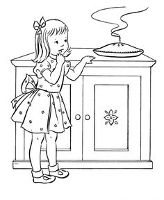 Thanksgiving Dinner Coloring Page Sheets Girl Sneaking A Pie Pages Including Family Scenes Turkeys Cornucopia And Other