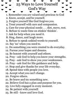 25 Ways to Love Yourself God's Way - free printable download.