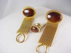 Tigereye Mesh wrap cufflinks tie tac with by NeatstuffAntiques, $95.00
