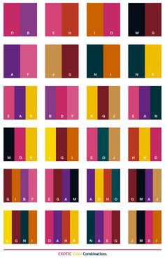 Exotic color schemes, color combinations, color palettes for print (CMYK) and Web (RGB + HTML) on white Colour Pallete, Colour Schemes, Color Trends, Color Combos, Color Patterns, Color Palettes, Color Palette Challenge, Color Harmony, Color Psychology