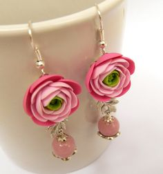 Pink roses   Pink earrings  Roses earrings  Ombre by insoujewelry, $31.00