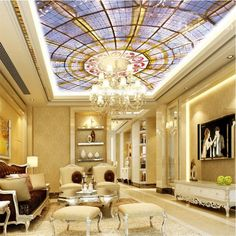 Dome Pattern Waterproof Durable and Eco-friendly 3D Ceiling Murals          - beddinginn.com