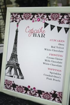 paris themed cupcake bar for lingerie/bridal shower