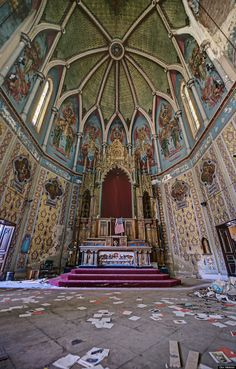 """This Pennsylvania church lies empty, waiting for the people to return. Though probably unintentional, that American flag replacing the Crucifix above the Tabernacle should tell us something about our priorities: we should want God to bless America. But we shall have no strange gods before Him. What also do we mean by """"God""""? In having become what Ross Douthat calls """"a nation of heretics"""" where """"bad religion"""" abounds, are we so sure that we do know?"""