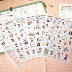 Anne'S Travel Europe Sticker Diary Planner Scrapbook Calendar Cartoon Cute Decor