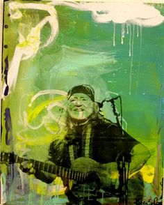 Original art of Willie Nelson by Austin artist, Karen Salem. Acrylic Canvas 48x60 available to view and purchase exclusively at the Town & Country Leather Bee Cave location. $1200