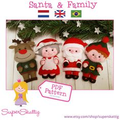 PDF pattern Santa & Family felt pattern Christmas by SuperSkattig