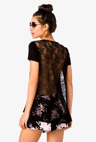 Lace Back Pocket Tee