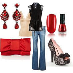 I could never wear any of this.  Well, maybe the earrings.  But it's a nice look (although with a solid black shoe.)