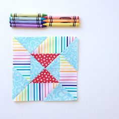 Colorful Rainbow Quilt Block | Perfect for a new baby!