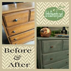 """It took me a while to paint this dresser because I was waiting to be inspired. When inspiration hit its because; As Austin Powers says.....""""its a MAN, baby. YEAH"""" Come see the manly makeover using some custom paint I mixed up. http://arttisbeauty.blogspot.com/2014/08/before-and-after-manlyhandsome-dresser.html #paintedfurniture #furnituremakeover #hometalktuesday #hometalkeveryday #artisbeauty #diy #project #beforeandafter"""