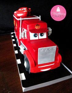 Jackson's Lightening McQueen & Mack Cake @ McGreevy Cakes Disney Cars Cake, Disney Cakes, Disney Pixar, Gateau Flash Mcqueen, Fondant Cakes, Cupcake Cakes, Mcqueen Car Cake, Mac Cake, Car Cake Tutorial