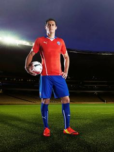 99c2cf4681d The new Chile 2014 World Cup Home Jersey comes with a classical blue  collar, while the Chile 2014 Brazil Away Shirt is white.