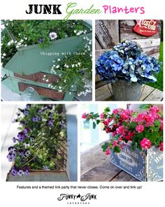 JUNK Garden Planters - features and a themed link party that never closes. Come link yours up! via Funky Junk Interiors