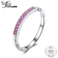 JewelryPalace 925 Sterling Silver Created Pink Sapphire Rope Band Stackable Ring Pink Sapphire for Women Engagement Ring On Sale Engagement Rings Sale, Mens Gear, Pink Ring, Stackable Rings, Pink Sapphire, Band Rings, Jewelry Watches, Bling, Sterling Silver