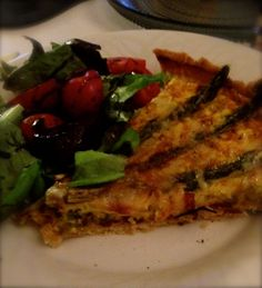 Asparagus and gryere quiche with beetroot salad