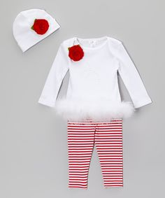 Take a look at the Truffles Kids White & Red Rhinestone Twirl Flower Marabou Tunic Set - Infant on #zulily today!