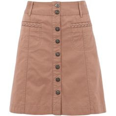 Stone 70s Twill Button Through Skirt ($27) ❤ liked on Polyvore