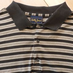 Bobby Jones Players golf polo shirt men's XL in black with gray and white stripes, 100% cotton. #BobbyJonesPlayers