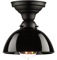 Jefferson Classic Flush Ceiling Fixture from Rejuvenation in Black Enamel w/ Blackberry shade #A1836 $130.00