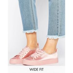 ASOS DARLING Wide Fit Satin Sneakers ($34) ❤ liked on Polyvore featuring shoes, sneakers, beige, lace up sneakers, laced shoes, asos sneakers, asos shoes and beige satin shoes