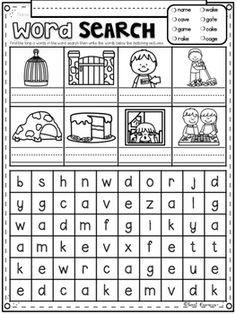 CVCE Word Search Puzzles FREEBIE Phonics For Kids, Fun Worksheets For Kids, Word Work Activities, 1st Grade Worksheets, Language Activities, English Activities, Reading Worksheets, Kindergarten Worksheets, Kids Word Search