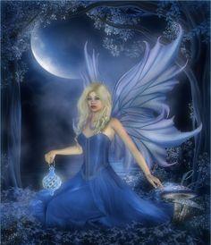 Blue Fae In Moonlight by CaperGirl42.deviantart.com on @deviantART