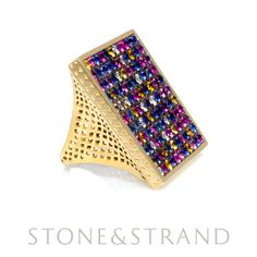 Sapphire Square Ring by Ray Griffiths, available exclusively at www.stoneandstrand.com