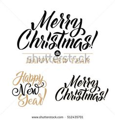 Merry Christmas AND Happy New Year Calligraphy Set. Greeting Card Design Set on White Background. Vector Illustration