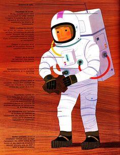 Spaceman from L'espace. Space Illustration, Illustrations, Vintage Children's Books, Vintage Space, Bd Comics, Beautiful Cover, Children's Literature, Retro Futurism, Art Tutorials