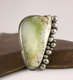 Prehnite Pebble Ring RAW 24/52 by Simply_Adorning, via Flickr ... Custom Order with clients Prehnite cabochon, August 2011