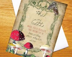 INVITATIONS: NO TOADSTOOLS OR OWLS. BUT I LIKE THE GREENERY FRAME AND THE BACKGROUND.  Enchanted Forest  Wedding Invitation