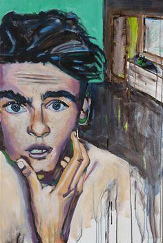 """EvaSchlitzer """"Shit ich habe zu viel Rasierwasser aufgetragen"""", 90 x 70, Acryl auf Leinen, 2017 Portrait, My Works, Painting, Linen Fabric, Artworks, Painting Art, Pictures, Headshot Photography, Portrait Paintings"""