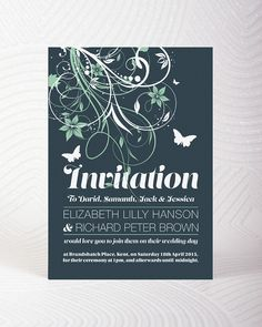 Butterfly wedding invitation on pearlescent paper.