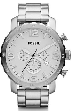 Fossil Watches, Men's Nate Chronograph Stainless Steel Watch #JR1444