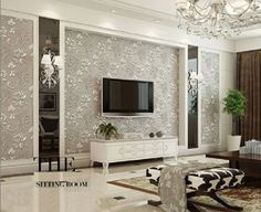 European style wallpaper non-woven embossed super thick stereo 3D wallpaper 2 colors for choose (purple&gray)