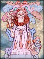 Ah Puch ÁrvoreEquivalente- é o rei e Deus de Xibalbá, o inferno. Descrito como um esqueleto ou cadáver com um rosto de jaguar adornado com sinos, é o deus da morte. Tem como cabeça um crânio, e as costas nuas mostrando partes da coluna vertebral; se seu corpo está coberto de carne, ela aparece inchada e com círculos negros que sugerem a sua decomposição.