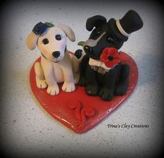 Dog Wedding Cake Topper by Trina's Clay Creations