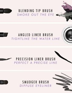 A precision liner brush is ideal for a clean cat eye, while a smudger brush is the perfect tool for a smokier look.