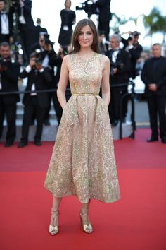 "Alexandra Maria Lara wears ELIE SAAB Haute Couture at the ""Elle"" Premiere during the 69th International Cannes Film Festival."