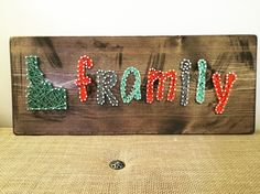 """Custom Order: """"Framily"""" on an 18x8 board  #StringArt #ExcellThreads #Framily To order, email: excell.threads@gmail.com Custom orders also available."""