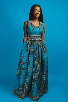 V neck African print maxi dress with 2 side pockets and back zip Made with cotton high quality African print wax fabric and cotton lining Dress measures approx 60 inches long African Maxi Dresses, African Attire, African Wear, African Dress Styles, Ankara Dress, African Style, Trendy Ankara Styles, Ankara Gown Styles, Chitenge Dresses