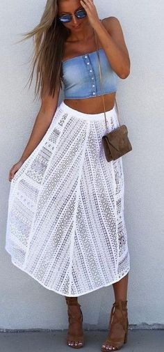 #summer #fblogger #outfits | Chambray Crop + White Lace Skirt