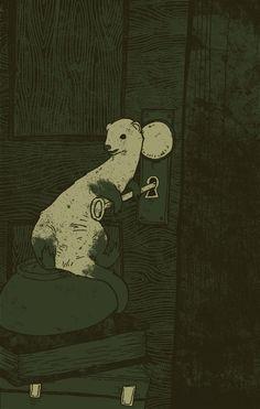 Untitled poster (Rufus the ferret) by American illustrator & designer Ben Sears. via Behance
