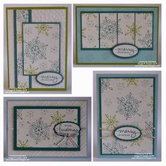 Endless Wishes stamp set One sheet wonder to make 4 cards and a box. See template in photo prior to or after this pin. At Yellowbear Stampin