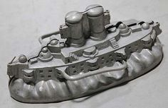 Antique Banquet Size Pewter Ice Cream Mold ... Ship