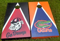 Mixed set cornhole boards games Georgia and University of Florida. No stickers no vinyl decals. Cornhole Decals, Cornhole Boards, Silhouette Cameo 2, Silhouette Projects, Georgia Vs, Outside Activities, House Divided, Game Party, Corn Hole Game