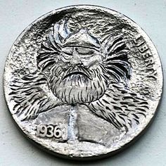 STEINAR FOSBACK - THOR - 1936 BUFFALO NICKEL Hobo Nickel, Thor, Buffalo, Coins, Carving, Rooms, Wood Carvings, Sculptures, Printmaking