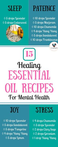 15 holistic healing essential oil recipes for your mental health. Some of these include: sleep, patience, joy, and stress relief. These essential oil recipes are used for the diffuser as aromatherapy and in roller bottles! #essentialoils #essential #oils #recipes #mentalhealth